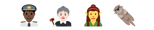 Twemoji of a white judge, black airline pilot, yellow-emoji-tone elf and an otter