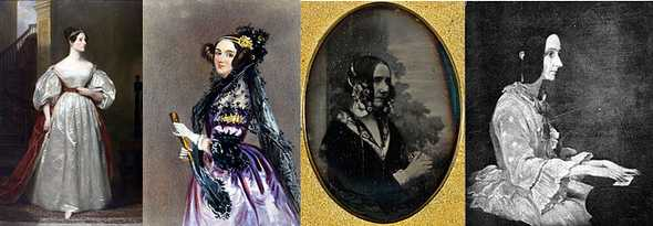 Portraits of Ada ranging from vibrant purple, regal looking, to more toned town seated at a piano to the one photograph of her in black and white