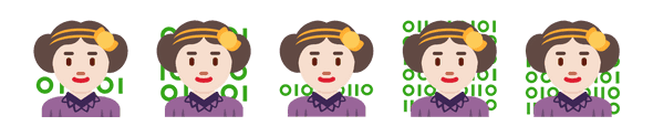 Ada Lovelace emoji with varying amounts and sizes of green binary in the background